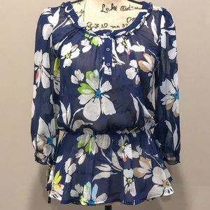 Old Navy sheer navy blue floral top size sm